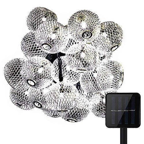 15,75ft 20 Lumières de Boule de LED, KEEDA Lumières Solaires de Corde, Lumières de Noël Extérieures Imperméables, Lumières Extérieures D'arbre Solaires Pour le Jardin Accueil Décorations de Mariage de Partie de Mariage (Blanc)