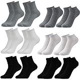 Caudblor 12 Pares Show calcetines de corte bajo de algodón para hombres y mujeres, blanco / gris / negro