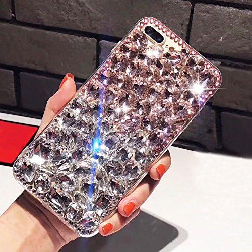 (Aearl Voller Diamant Hülle für iPhone 7 Plus TPU Silikon Transparent 3D Bling Glitzer Kristall Steinchen Handyhülle mit Displayschutzfolie für Apple iPhone 8 Plus - Klar und Pink)