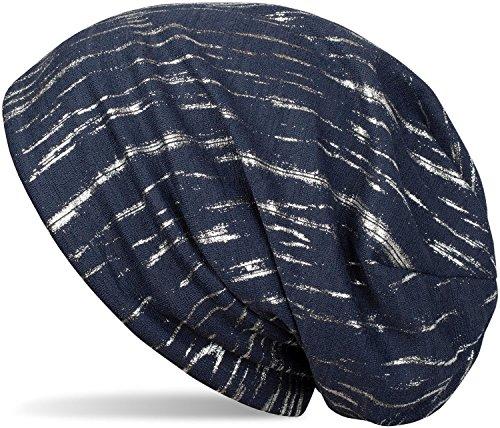 styleBREAKER Beanie Mütze mit Metallic Streifen, Slouch Longbeanie, Unisex 04024120, Farbe:Dunkelblau