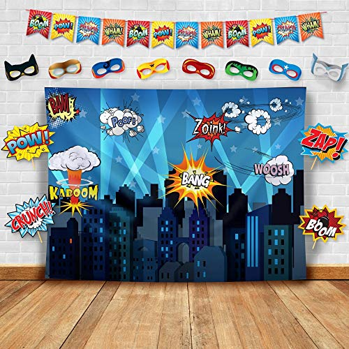 Superhero Fotohintergrund, Fotostudio-Requisiten, Flaggen und Masken Fotohintergrund, ideal als Superhelden-Stadt, für Geburtstagspartys und Events, Dekorationen (Klebeband Batman Kostüm)