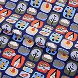 Hans-Textil-Shop Stoff Meterware Bär Schildkröte Blau