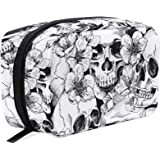 ZOEO Makeup Pouch Sugar Skull Mexican Floral Halloween Mini Makeup Bag Organizer Travel Zip Toiletry Bag Small Cosmetic Train