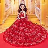IDream Beautiful Elegant Handmade Party Weeding Gown Dress Fashion Cloth For Doll (Red)