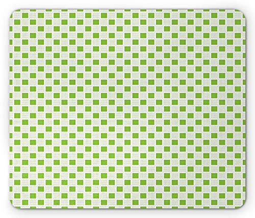 Yellow Green Mouse Pad, Abstract Polka Dotted Pattern with Grid Squares Geometric Arrangement, Standard Size Rectangle Non-Slip Rubber Mousepad, Yellow Green White Polka Rose Square