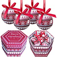 (1, Original Packaging) - The Christmas Workshop 75 mm 14-Piece Nordic Design Decoupage Baubles, Red