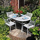 Lazy Susan Furniture - June 150 x 95cm Oval 6 Seater Cast Aluminium Furniture Set White with April Chairs