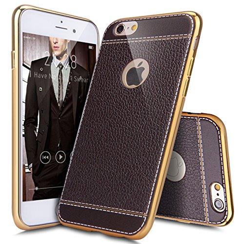 Coque iPhone 6 Plus,Coque iPhone 6S Plus,Coque Étui Case pour iPhone 6S / 6 Plus,ikasus® Plating faux cuir Coque iPhone 6S / 6 Plus Silicone Étui Housse Téléphone Couverture TPU Clair éclat TPU silico Marron foncé
