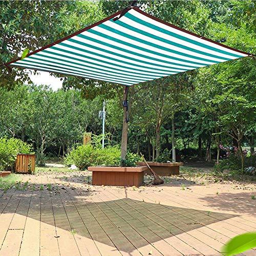 Zeltplanen CJC Markisen Markise Baldachin Sonnenschutztuch 70% Sonnenschutz Gewächshaus Schatten-Netz Sonnenschutznetz Hof Rasen Schwimmbad Deck (Color : Green+White Stripes, Size : 4x8m)