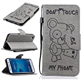 Chreey Coque Huawei Y6 II / Honor 5A (5.5 pouces) (DON'T TOUCH MY PHONE),PU Cuir Portefeuille Etui Housse Case Cover ,carte de crédit Fentes pour ,idéal pour protéger votre téléphone