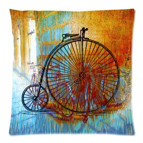 GONIESA Vintage Penny Farthing Bicycle Bike Decorative Square Zippered Throw Pillow Case Cushion Cover 16x16 Inch/40cmx40cm