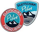 2er-Set Paragliding Abzeichen gestickt / Gleitschirm Pilot / Aufnäher Aufbügler Sticker Flicken Patch / Paraglider Gleitschirmfliegen Gleitschirm-Flieger Flug-Gebiet fliegen segeln Flug-Berg Alpen