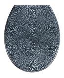Wenko 18902100 Premium WC-Sitz Ottana Granit - Absenkautomatik, rostfreie Fix-Clip Hygiene Edelstahlbefestigung, antibakteriell, Duroplast, 37,5 x 44,6 cm