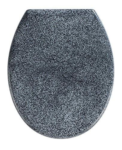 Wenko Premium WC-Sitz Ottana Granit I Toilettensitz mit Absenkautomatik und rostfreier Fix-Clip Edelstahlbefestigung, Duroplast WC Sitz, antibakteriell, 37,6 x 45,2 cm