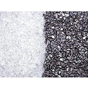 Ladesteine Bergkristall und Entladesteine Hämatit Mini Trommelsteine 400 gramm (je 200gr) Chips 6-9 mm