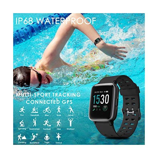 CHEREEKI Reloj Inteligente, Smartwatch Impermeable IP68 Pulsera Actividad 1.3 Pulgada con Monitor de Ritmo cardíaco… 4