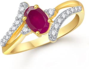 Meenaz Ruby 24K Gold Ring For Girls & Women In American Diamond Cubic Zirconia Ring Fr408