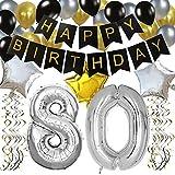 KUNGYO Classy Zum 80. Geburtstag Party Dekorationen Satz- Schwarz Happy Birthday Banner,FolienBallon Zahl 80 in Silber-XXL Riesenzahl 100cm, Star & Latex Ballon,Hängende Wirbel,Perfekt Alles Gute Zum Geburtstag Zubehör Für 80 Jahre Alt.