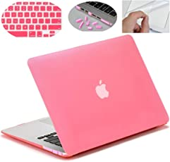 """MOCA' Hard Shell Skin Cover Case For Apple MacBook Air 13"""" 13.3"""" inch A1369 , A1466 With 3 SAViOUR Accessories (Pink)"""