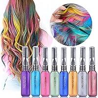 Tiza de Pelo, HailiCare 8 Colores Peine de Tiza DIY Color del Pelo Temporal Perfecto para Partido Cosplay Festivales Colores Hair Chalks