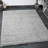 Vimoda Prime Shaggy Grau Hochflor Langflor Teppiche Modern für Wohnzimmer Schlafzimmer Einfarbig, Maße:100x200 cm Tapis, Polypropylène, Gris, 80 x 150 cm