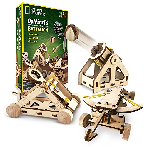 NATIONAL GEOGRAPHIC - Da Vinci's DIY Science and Engineering Construction Kit - Build Three Functioning Wooden Models: Catapult, Bombard and Ballista -