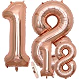 "Luftballons Zahl 18 Geburtstag XXL Rose Gold - Riesen Folienballon in 2 Größen 40"" & 16""   Set XXL 100cm + Mini 40cm…"