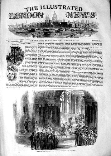 REINE 1847 D'ARRIVÉE CHRISTINA ROYAL PALACE MADRID ESPAGNE par original old antique victorian print