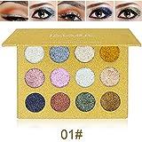 SYMEAS Paleta de Brillo de Brillo de Larga Duración con Sombra de Ojos 12 Colores