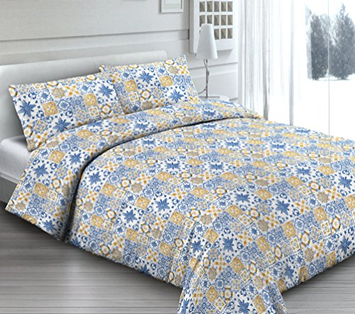 Smartsupershop Housse de Couette avec taies d'oreiller pour lit – Douce Dormir Bleu – Y Compris sous avec Coins en coordonné – en Coton Fabriqué en Italie