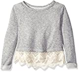 Lucky Brand Little Girls' Lace Trimmed Lurex French Terry Pullover, Grey Heather, 6X