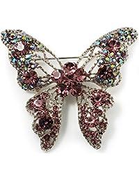 Ravissante Broche Papillon Lilas Cristal Swarovski (Ton Argent)