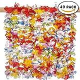 THE TWIDDLERS 40 Piezas de Collares de Flores Lei Luau Hawaianos - Variedad de Colores Brillantes - Gran Idea para Fiestas de temática Hawaiana - Fiestas en la Playa y Mucho Más