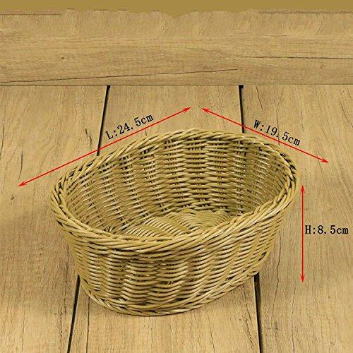 XBR zuhause wohnzimmer, obstkorb, ellipse, nachahmung rattan - korb, wohnzimmer, obstkorb, getrocknete früchte - korb, rattan weben, plastik - korb,kaffee,* * 8.5cm 19,5 24,5 (Körbe Rattan Weben)