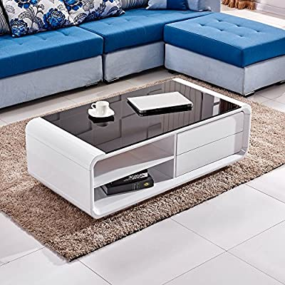 Tason White High Gloss Coffee Table with Black Tempered Glass Top and 2 Drawers, Modern Design Storage Desk for Living Room - low-cost UK light store.