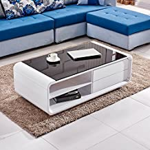 Tason White High Gloss Coffee Table with Black Tempered Glass Top and 2 Drawers, Storage Desk for Living Room