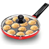 Hawkins Nonstick Appe Pan with Glass Lid, 12 Cups, Diameter 22 cm, Black (NAPE22G), Cast Aluminium, Red
