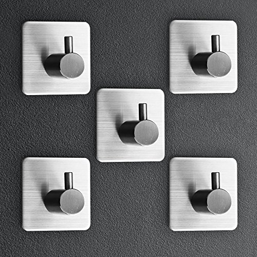 Selbstklebend Haken Edelstahl Küchenhaken, Handtuchhaken Bademantelhaken Haken Wandhaken Klebehaken Zum Aufhängen für Küche und Bad 5 Stück von Konomio