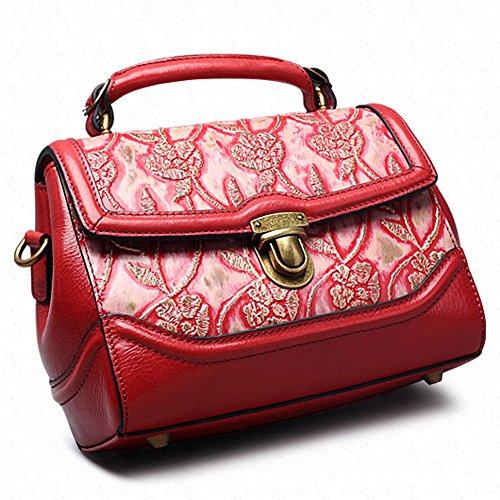Leathario borsa di vera pelle da Donna a mano a tracolla borsa in stile classico borsa vintage borsa estiva stile cinese borsa elegante roasso