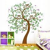 """Wandtattoo """"Vier Eulen auf einem Baum"""" (3farbig) in Ihren Wunschfarben von Wandtattoo-Loft® / BITTE TEILEN SIE UNS IM ANSCHLUSS DER BESTELLUNG IHRE WUNSCHFARBEN MIT! / Bäumchen mit Eulen Kinder / 49 Farben / 4 Größen / braun / 179 x 210 cm"""