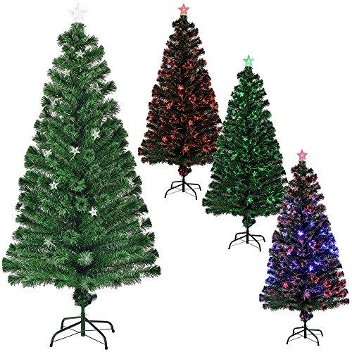 [en.casa] Árbol de Navidad (artificial) iluminado color con soporte - fibra de vidrio - fibra óptica - alta calidad - 180cm x Ø 80cm (200 puntas iluminadas)