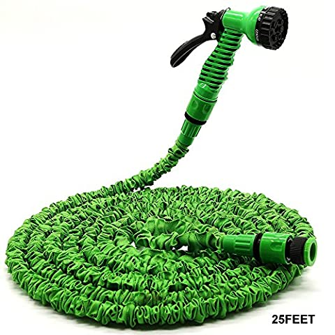 Case Wonder Garden Hose Spray Gun, Expandable Garden Magic Hose, Flexible and lightweight Expandable Hose Pipe/ 7 Settings Sprayer/ Expanding Hose / Magic Hose Expands up to 7.5 Meters /25 Feet (GREEN)