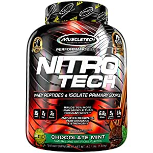 Muscletech Performance Series Nitrotech Whey Protein Peptides & Isolate (30g Protein, 3g Creatine, 6.8 BCAAs, 5g Glutamine & Precursor, Post-Workout) - 4lbs (1.81kg) (Chocolate Mint)