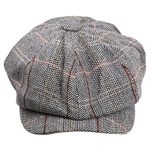 Gazechimp Newsboy Golf Flach Gatsby Tweed Sonnenhut Baker Tweed Schirmmütze Mütze Gatsby - Hellgrau, one size (Tweed-newsboy)