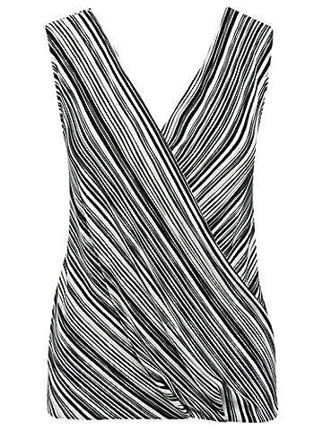 M&Co Ladies Sleeveless V Neck Plisse Pleat Stripe Print Wrap