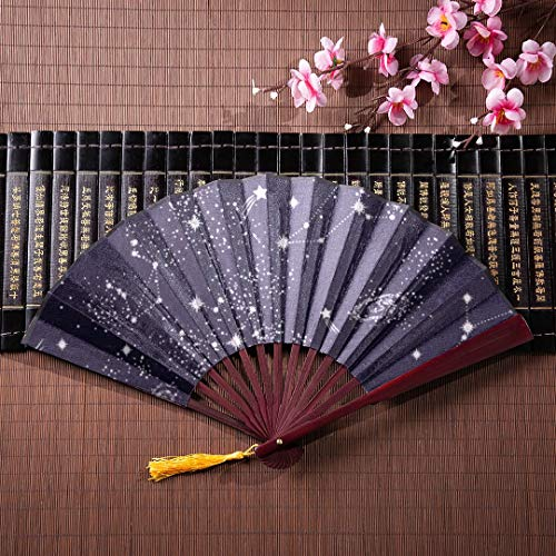 EIJODNL Handfächer, die alle zwölf Tierkreiszeichen in der Konstellation mit Bambusrahmen-Quasten-Anhänger und Stoffbeutel Falten Bambuswand-Fan-japanischer Fan-Mann-dekorativer japanischer Fan