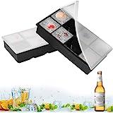 Eiswürfelformen Silikon mit Deckel XXL Eiswürfel Form Eiswürfelbehälter 2er Pack Eiswürfelbereiter 5 cm Große Eiskugeln Runde Eiskugelformer Ice Tray Ice Cube für Bier Cocktails Whisky