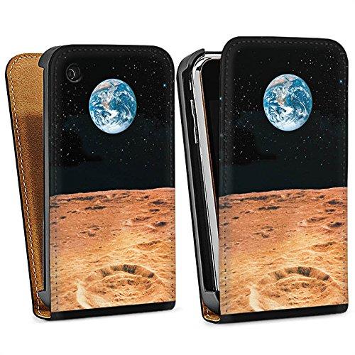 Apple iPhone 5 Housse étui coque protection Terre Lune Lune Sac Downflip noir