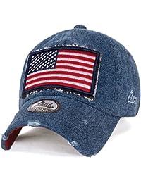ililily USA Flagge Flicken Denim Baumwolle klassischer Stil abgenutztes Aussehen Baseball Cap Trucker Cap Hut