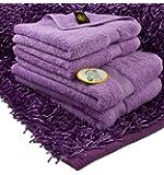 Gözze Handtuch Single-Starter 5er-Set, 2 Handtücher, 2 Duschtücher, 1 Langflor-Teppich, 100% Baumwolle, New York, Flieder, 550-9024-A5
